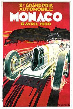 """""""Monaco Grand Prix Vintage  Auto Race Poster"""" by Johnny Bismark: Vintage Monaco Grand Prix 1930 Auto Race Poster.  Auto racing advertisement for 2nd Monaco Grand Prix.  Artist Robert Falcucci 1900 - 1989."""