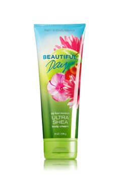 BEAUTIFUL DAY - Ultra Shea Body Cream - Signature Collection - Bath & Body Works - Infused with luxuriously rich Shea Butter, our New Ultra Shea Body Cream provides 24 hours of nourishing moisture to soften even the driest skin. With soothing Aloe Butter, pampering Cocoa Butter and more Shea than ever before, our non-greasy formula melts into skin to provide beautiful fragrance and all day, all night hydration.