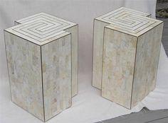 Mid Century Modern Tessellated STONE End Tables Maitland Smith Karl Springer Era