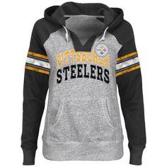 Pittsburgh Steelers Ladies Huddle V-Neck Hoodie - Ash/Black