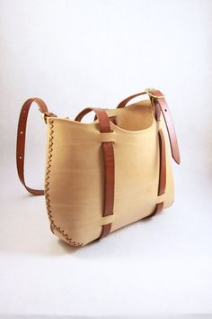 leather tote. forest tote in natural vegetable tanned leather. in stock. on Etsy, $145.00