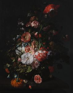 'Flower Still Life', 1726, Rachel Ruysch - The Toledo Museum of Art Different Kinds Of Flowers, Toledo Museum Of Art, Dutch Still Life, Still Life Artists, White And Pink Roses, Female Painters, Dutch Golden Age, Chiaroscuro, Old Master