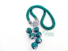 Teal necklace FREE SHIPPING by AnnaCohen on Etsy