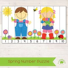 Free Spring Number Puzzle: Games 4 Kids, Weather Activities For Kids, Autism Activities, Spring Activities, Math For Kids, Fun Math, Educational Activities, Math Games, Number Puzzles