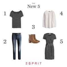 Our New5 of the week: classic #jeans, cool #booties and #feminine #styles with stripe #pattern.
