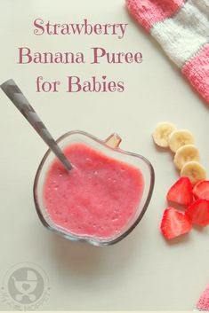Give your little one a mix of sweet and tart flavors in this bright and nutritious strawberry banana puree for babies! #babyfoodrecipes