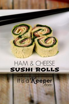 These Ham and Cheese Sushi Rolls are a quick and easy lunch box recipe