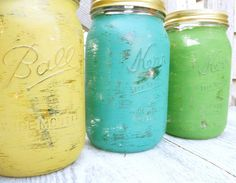 Shabby Chic INDIAN SUMMER Painted Mason Jars by HuckleberryVntg