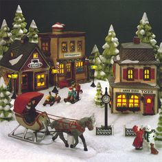 Christmas Village Fun Blog: Part Two: Popular Toys by Decade, from 1960-2010, with Buildings from Dept. 56 and Lemax