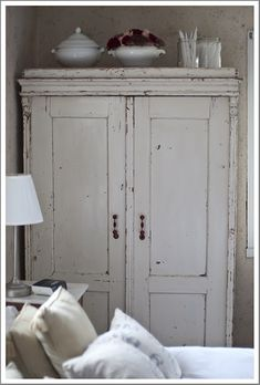 shabby white hutch