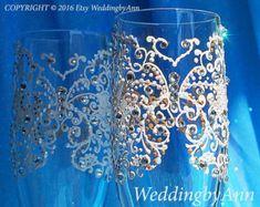 Ivory Wedding Glasses Wedding Toast Flutes by WeddingbyAnn on Etsy