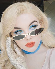 "Mermaid on Instagram: ""Toodles Galore inspo🌷 1, 2, 3?  ________________________ used:  #colourpopme blue moon palette; fly-fy lippie stix; #nyxcosmetics epic ink…"" Daily Makeup, Nyx Cosmetics, Blue Moon, Cat Eye Sunglasses, Fashion Beauty, Mermaid, Palette, Ink, Portrait"