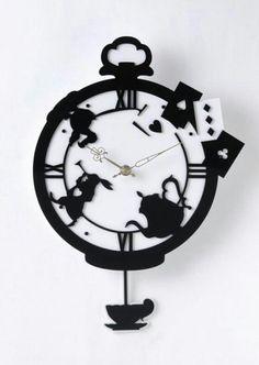 New Alice in Wonderland Rose Garden Pendulum Wall Clock - Rare