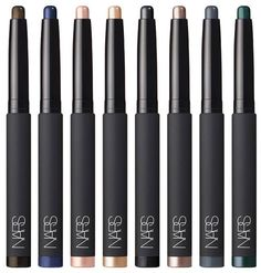 NARS Color Collection Fall 2015: Velvet Shadow Stick – $28.00 (Hollywoodland – Pale gold / Aigle Noir – Black infused with gold shimmer / Glenan – Navy / Goddess – Pink champagne / Oaxaca – Quartz / Sukhothai – Shimmering peacock / Filbuste – Black / Reykjavik – Grey