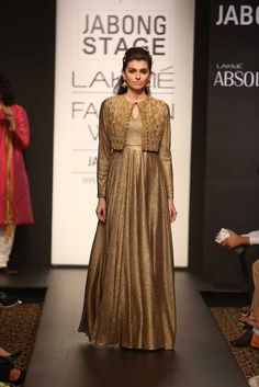 Swati Vijaivargie & Harshitaa Chatterjee Gold  #Anarkali With Jacket At Lakme Fashion Week 2014.