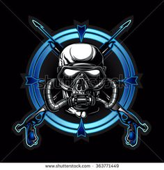 Skull illustration - comprar este(a) imagem vetorial de banco no Shutterstock e encontrar outras imagens. Kitesurfing, Shark Logo, Scuba Diving Equipment, Graffiti Lettering, Special Forces, Underwater, Skull Illustration, Artwork, Scuba Diving Tattoo