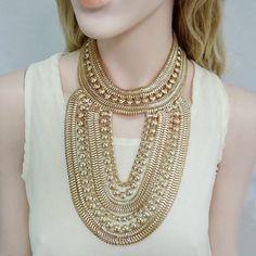 Art Deco Style Golden Chain Necklace,