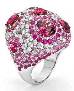Ring with diamonds, pink sapphires and tourmalines by Roberto Coin