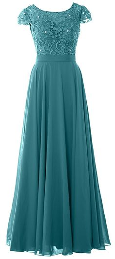 MACloth Women V Neck Vintage Lace Chiffon Short Prom Dresses Wedding Party Gown (32, Teal)