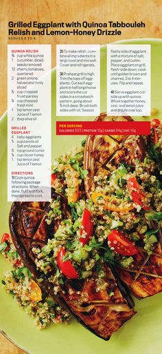 Grilled Eggplant 🍆 with Quinoa Tabbouleh Relish and 🍋 Lemon-Honey 🍯 Drizzle.#recipe #HealthyRecipe #HealthyEating
