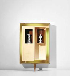 Gio Ponti - Illuminated 'Positivo-negativo' wall-mounted cabinet with tower and king statuettes Boho Bathroom, Bathroom Wall Decor, Bathroom Colors, Kitchen Cabinets In Bathroom, Bathroom Shelves, Bathroom Medicine Cabinet, Gio Ponti, Blue Vanity, Diy Candle Holders