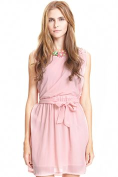 #RomwePartyDress ROMWE | Beaded Self-tied Pleated Pink Dress, The Latest Street Fashion
