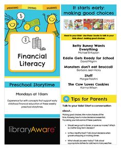 """What better way to engage parents than to help them introduce financial literacy to their kids with storytimes and great reading recommendations? We've added a series of ready-to-go templates in LibraryAware for you to get started. To open this bookmark, search """"financial"""" under wide bookmarks."""