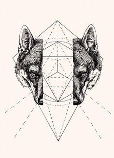 Geometric Wolf by Peter James Carrington.... Split enamel painting then fuse??