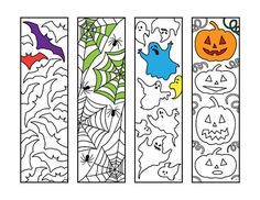 Halloween Bookmarks  PDF Zentangle Coloring Page - perfect gift or kids activity for Halloween