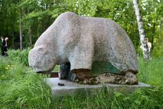 This bear was blown up by the retreating Soviet troops railway station of Vyborg.A disabled war veteran.