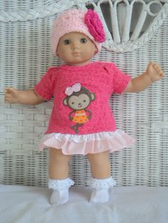 Doll Clothes Bitty Baby Girl Monkey 3 pc Pink   Dress by btcrafts