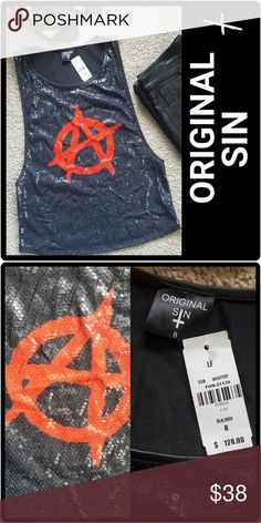 ORIGINAL SIN Sequin Tank Top New with tag  Retail Price $128.00  Black sequins on front with the anarchy symbol in red Back is light weight black pleather Long arm openings   Size 8 Fits like a Medium LF Tops