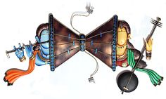 Lord Krishna and Meerabai on Either Side of Dambaru - Iron Craft Wall Hanging for Home Decor