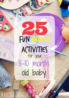 Not sure what to do wi%th your month old baby when the weather is not gfor going out? Well, look no more. Here are 25 of my daughters favourite indoor activities from when she was 8 to 10 months. Fun Indoor Activities, Infant Activities, Activities For Kids, 9 Month Old Baby Activities, 8 Month Milestones Baby, 8 Month Old Baby, 10 Month Olds, 8 Month Old Toys, Baby Monat Für Monat
