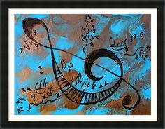 Musical notes art Abstract music Painting Print by JuliaApostolova