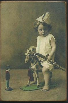 Wood Magnet~Little Boy~Toy Horse~Vintage Style Photo Print~78