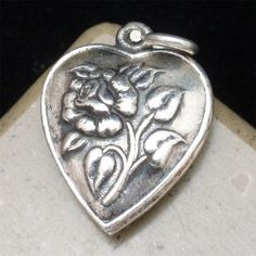 Puffy Heart Charm Vintage Sterling Silver Repousse Rose Flower on Both Sides