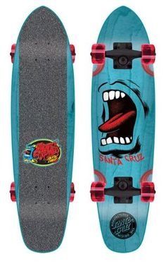 "Santa Cruz Sidewalk Screamer Blue Complete Skateboard - 6.4"" x 25.3"" by Santa Cruz. $99.95. With so many ""alternative construction"" minis out there, SC presents the ""Sidewalk Screamer"" - a snappy alternative to a soggy problem. It's a micro cruiser with the traditional board feel. The Sidewalk Screamers feature a shrunk down version of our much loved ""Jammer"" shape, SC x OJ 54mm soft wheels, contrast stained wheel wells, custom die cut grip and a FREE Santa Cruz Messenger bag to..."