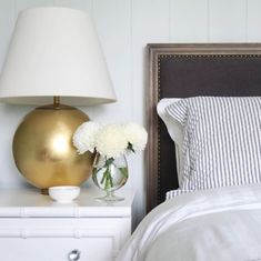 """Morton Table Lamp in Gild with Linen Shade Item # ARN 3000G-L Designer: AERIN Height: 24.5"""" Width: 16.5"""" Base: 4.5"""" Round Socket: E26 Dimmer Wattage: 100 A19 Weight: 13 Pounds"""