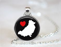 I Love Pomeranians Magnetic Pendant Necklace with Paw Print Organza Bag by…