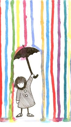 Rain - Spring-related art and illustration. Arte Elemental, Art For Kids, Crafts For Kids, Art Children, Young Children, Classe D'art, Umbrella Art, Inspiration Art, Art Inspo
