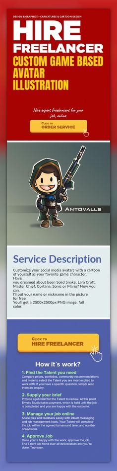 Custom Game Based Avatar Illustration Design & Graphics, Caricatures & Cartoon Design   Customize your social media avatars with a cartoon of yourself as your favorite game character.  Have you dreamed about been Solid Snake, Lara Croft, Master Chief, Cortana, Sonic or Mario? Now you can.  I'll put your name or nickname in the picture for free.  You'll get a 2500x2500px PNG image, full color.