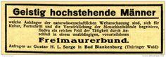 Original-Werbung/ Anzeige 1920 - FREIMAURERBUND / SORGE - BAD BLANKENBURG - ca. 90 x 30 mm