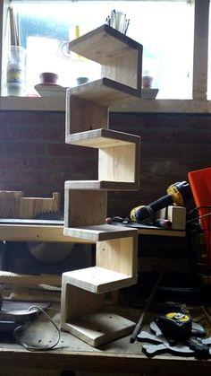 CD corner rack,, made from reclaimed pallet wood.