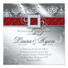Christmas Wedding Damask Jewel Red White Glitter Invite