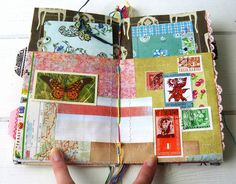 Eco-friendly journal made from scrap office file folders and leftover bits and… Fabric Journals, Journal Paper, Art Journal Pages, Art Journals, Handmade Journals, Handmade Books, Handmade Art, Smash Book, Moleskine