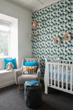 Eclectic Baby Boy Nursery with Fab Geometric Wallpaper Accent Wall - this nursery has great styling!