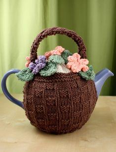Flower Basket Tea Cozy: free knitting pattern