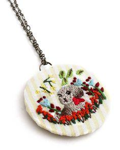 #EmbroideryNecklace #Necklace #DogNecklace #DogJewelry #VeganNecklace #PendantNecklace #HandEmbroideryNecklace - #EmbroideredDog by MyPrettyBabi on Etsy @etsy #myprettybabi