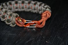 Paracord Survival Bracelet with S-Clip Grey and Rust by CordNinja